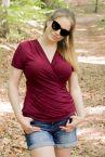Urkye Kopertowka Short Sleeved Wrap Top Beetroot Red-thumb Shortsleeved low-cut v-neck top 36-50, O/OO, OO/OOO BL-038-FIO2-SS21