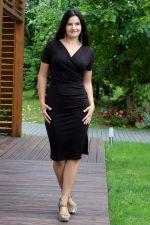Kopertowy Olowek Short Sleeved Pencil Dress Black