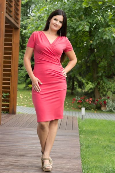 Urkye Kopertowy Olowek Short Sleeved Pencil Dress Hawthorn short sleeved pencil dress with wrap top 34-46 O/OO, OO/OOO SU-025-CZE