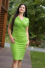 Kopertowy Olowek Short Sleeved Pencil Dress Green