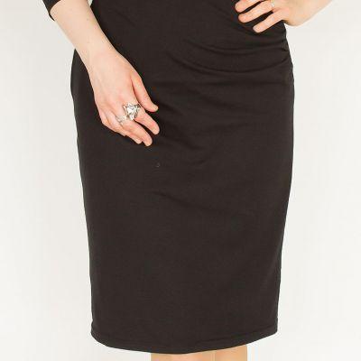 Urkye Kopertowy Olowek 3/4 Sleeve Dress Black 3/4-sleeved pencil dress with faux wrap top 36-46 O/OO, OO/OOO SU-034-CZA-2021