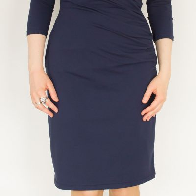 Urkye Kopertowy Olowek 3/4 Sleeve Dress Navy 3/4-sleeved pencil dress with mock wrap top 36-46 O/OO, OO/OOO SU-034-GRA-2021