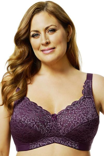 Elila Lace Soft Cup Bra Plum Non-wired, non-padded full cup stretch lace bra 80-105 D-H 1607-PLM