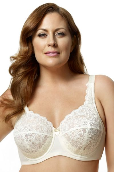 Elila Lace Full Cup Bra Ivory Underwired, non-padded lace full cup bra 75-105 E-K 2311-IV