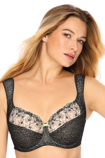 Gaia Lingerie Laura Soft Bra Tempting Black Underwired, soft cup bra with side support 70-105, D-L BS--929-CZA