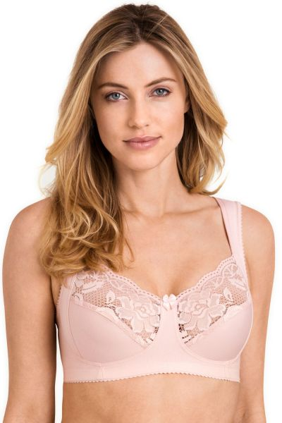 Miss Mary Lovely Lace Non-Wired Bra Dusty Pink Non-wired full cup bra with extra wide straps. 80-120 D-H MM-2105-81