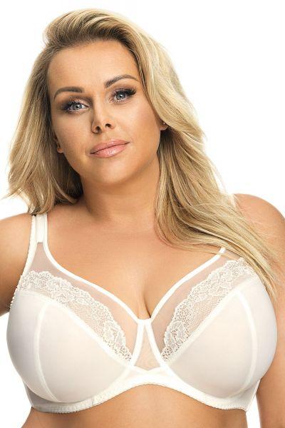 Gorsenia Luisse Soft Bra Cream Underwired, non-padded full cup bra 65-95, E-M K441-SMI