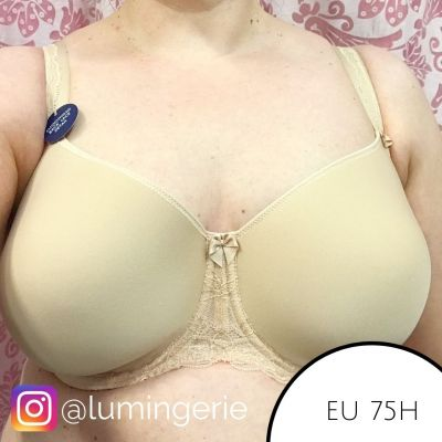 Fantasie Rebecca Lace UW Spacer Bra Sand Full cup, smooth, moulded, unpadded bra with underwires 65-85, D-J FL9421-SAD