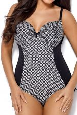 Marigold Full Cup One-Piece Swimsuit Black White Gold