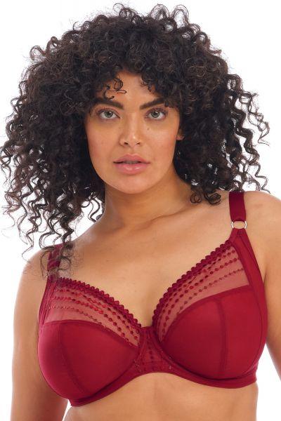 Elomi Matilda UW Plunge Bra Crimson Underwired, full cup plunge bra 70-100, E-O EL8900-CRN
