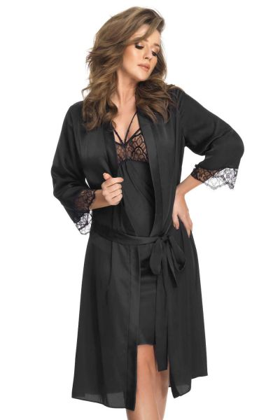 Gorsenia Memphis Dressing Gown Black  S/M - 4XL/5XL K618