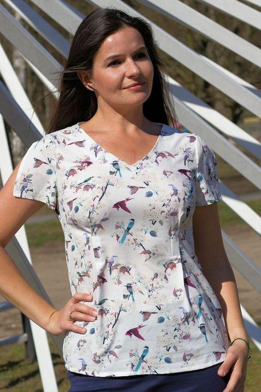 580f0884faf1 Urkye Mgielka Short Sleeved Top White Bird Print | Lumingerie bras ...