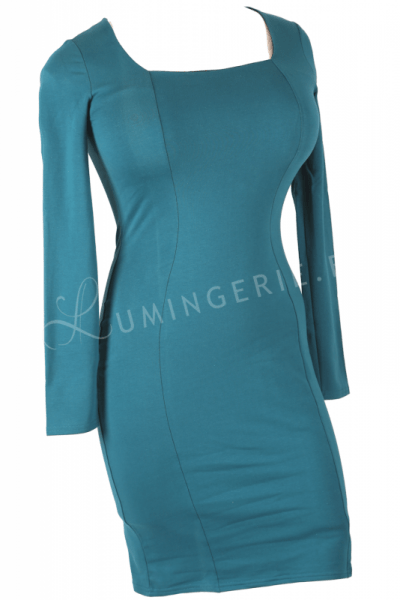 Mi Long Sleeved Dress Dark Turquoise