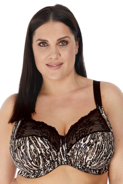 Elomi Morgan UW Banded Bra Ocelot Underwired, non-padded banded bra in full cup 70-100, E-O EL4110-OCT
