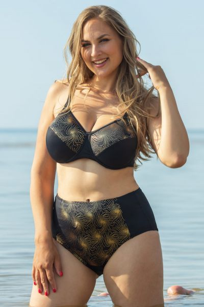 Plaisir Golden Full Cup Bikini Bra Black/Gold Underwired, non-padded bikini bra 80-100, D-H T0051-BLK/GLD