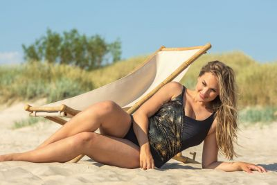 Plaisir Golden Faux Wrap Swimsuit Black/Gold Swimsuit with built-in underwired cups 42-56, C-H T0056-BLK/GLD
