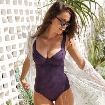 Panache Swimwear Riviero Swimsuit Aubergine Underwired swimsuit with luxurious jacquard fabric 70-90 E-K SW1330-AUB
