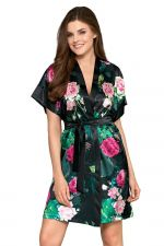 Rose Satin Dressing Gown Rose Print