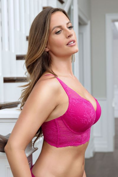 Sandrine Plunge Longline Bra Wild Pink