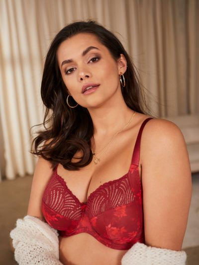 Sculptresse by Panache Arianna Full Cup Bra Deep Red Underwired, non-padded full cup bra 75-105, D-HH 10275-RED