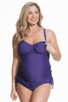 Shake Maternity 2 piece Tankini + Brief Set Purple-thumb