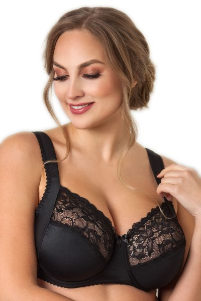 Plaisir Sofia Full Cup Bra Black Underwired, non padded, stretch lace full cup bra 80-110, D-I 1125-1/BLK