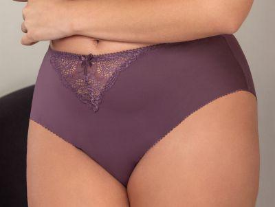 Plaisir Sofia Midi Briefs Crocus Normal high waist brief with lace at front. 42-54 144-CRO