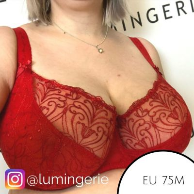 Nessa Sonata Soft Bra Red Underwired, unpadded soft cup lace balconnet 65-110, D-P 048-500-RED