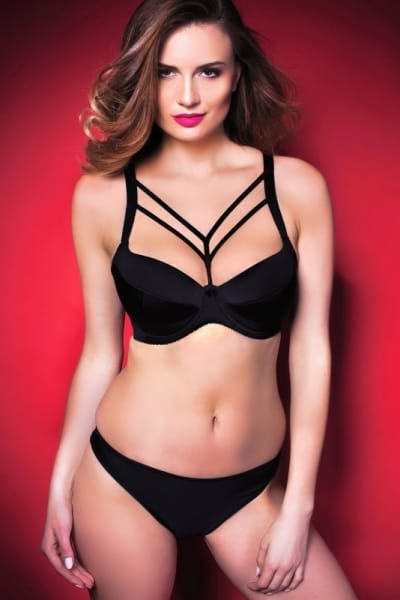 Stripes Decorated Padded Bra Black