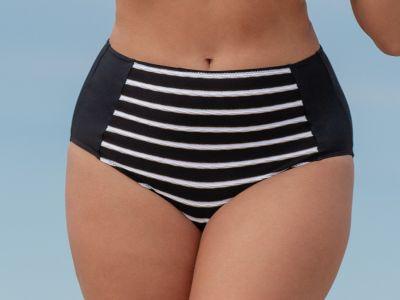 Plaisir Stripes Maxi Bikini Brief Monochrome High waisted maxi bikini brief 42-54 T0006