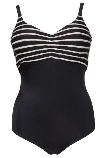 Plaisir Stripes Swimsuit Monochrome Swimsuit with built-in underwired cups 42-56, C-H T0013
