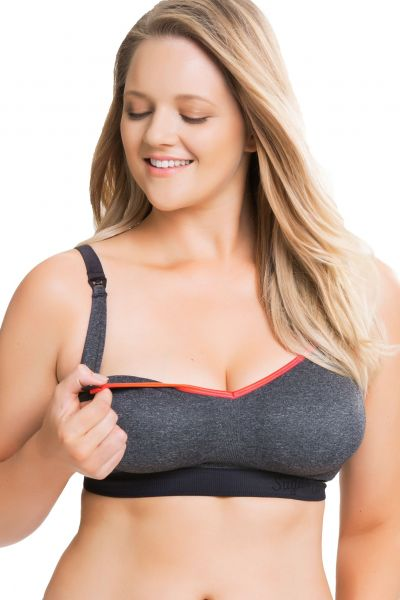Sugar Candy Crush Seamless Soft Nursing Bra Charcoal