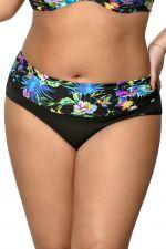 Blue Tropical Ruched Waist Bikini Brief
