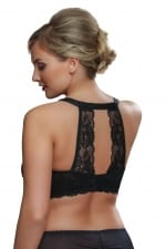 Tiffany Sheer Lace Bra Black with Decorative Lace Black