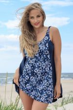 Vintage Garden Swim Dress Blue Floral