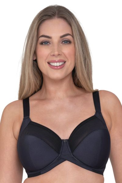 Curvy Kate Wonderfull Full Cup Bra Black Underwired, non-padded full cup bra with Cushion Comfort pads 70-105, E-O CK-018-102-BLK
