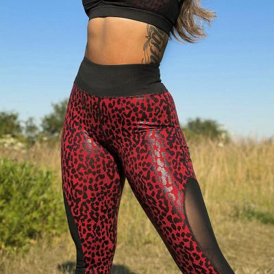 Playful Promises Leopard Wetlook HW Leggings Red  S/36 - 5XL/52 WW-A238