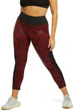 Leopard Wetlook HW Leggings Red